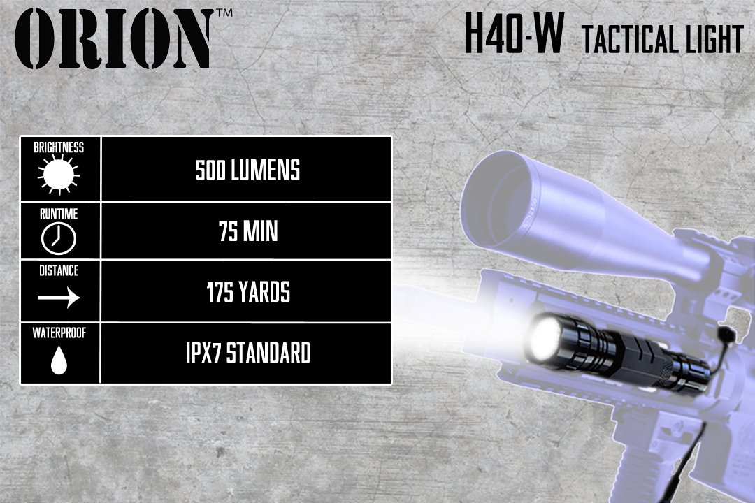 Orion H40-W 500 Lumen LED Tactical Flashlight with Pressure Switch and Rifle Mount