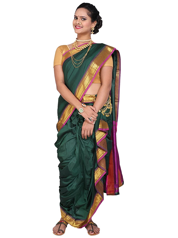 Designer Peshwai Nauvari Saree - Bottle Green Color