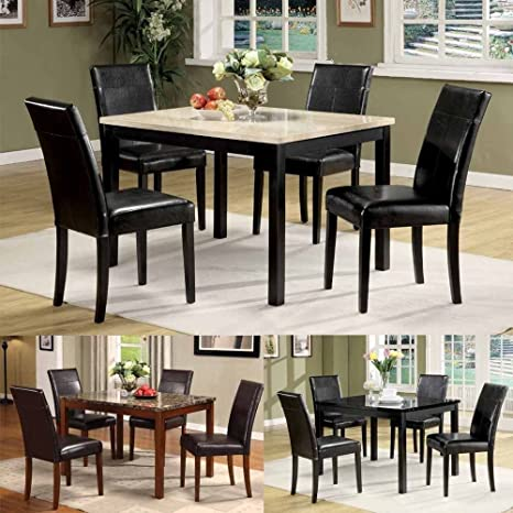 1PerfectChoice Contemporary 5 Pieces Faux Marble Dining Table Top 4 x Dining Chairs Set Option