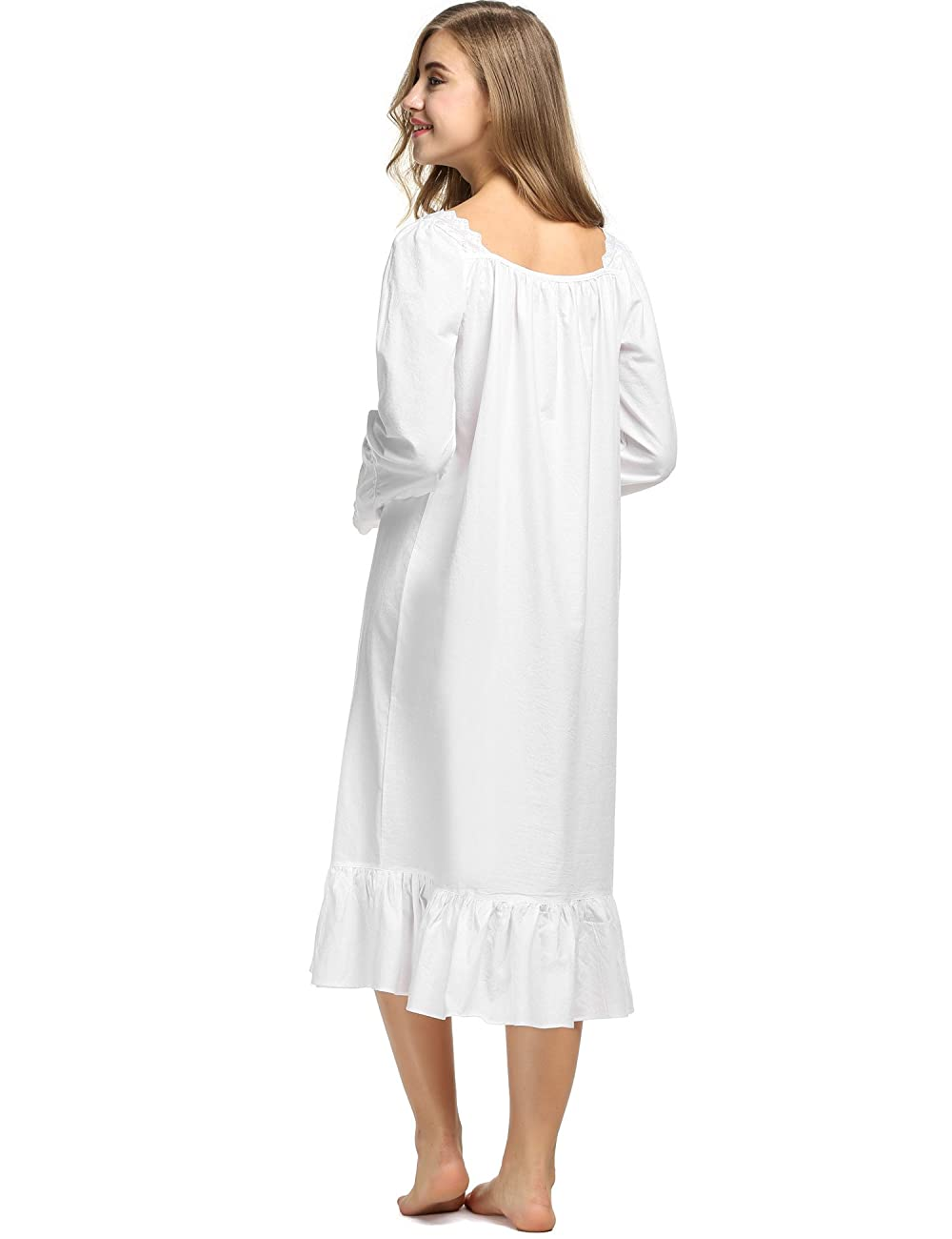 Avidlove Womens Cotton Victorian Nightgowns Romantic Long Bell Sleeve Nightshirt 4