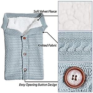 MHJY Baby Swaddle Blanket Wrap Newborn Sleeping Bag Warm Knitted Fleece Stroller Wrap Infant Swaddle Wrap for Unisex Baby Shower Gift (Color: Light Grey)