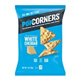 POPCORNERS White Cheddar Popped Corn Snacks, Gluten Free, Single-Serve Bags, 1oz (Pack of 40)