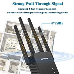  Upgraded Version  AC1200 Dual-Band WIFI Range Extender, WIFI Repeater, Wireless Signal Booster, Including 4 High-Power External Antennas and Gigabit Ethernet Ports, WIFI Can Cover the Whole Family