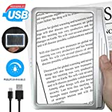 [Rechargeable] 3X Large Ultra Bright LED Page Magnifier with 12 Anti-Glare Dimmable LEDs(Evenly Lit Viewing Area & Relieve Eye Strain)-Ideal for Reading Small Prints & Low Vision Seniors (Color: Silver, Tamaño: 8