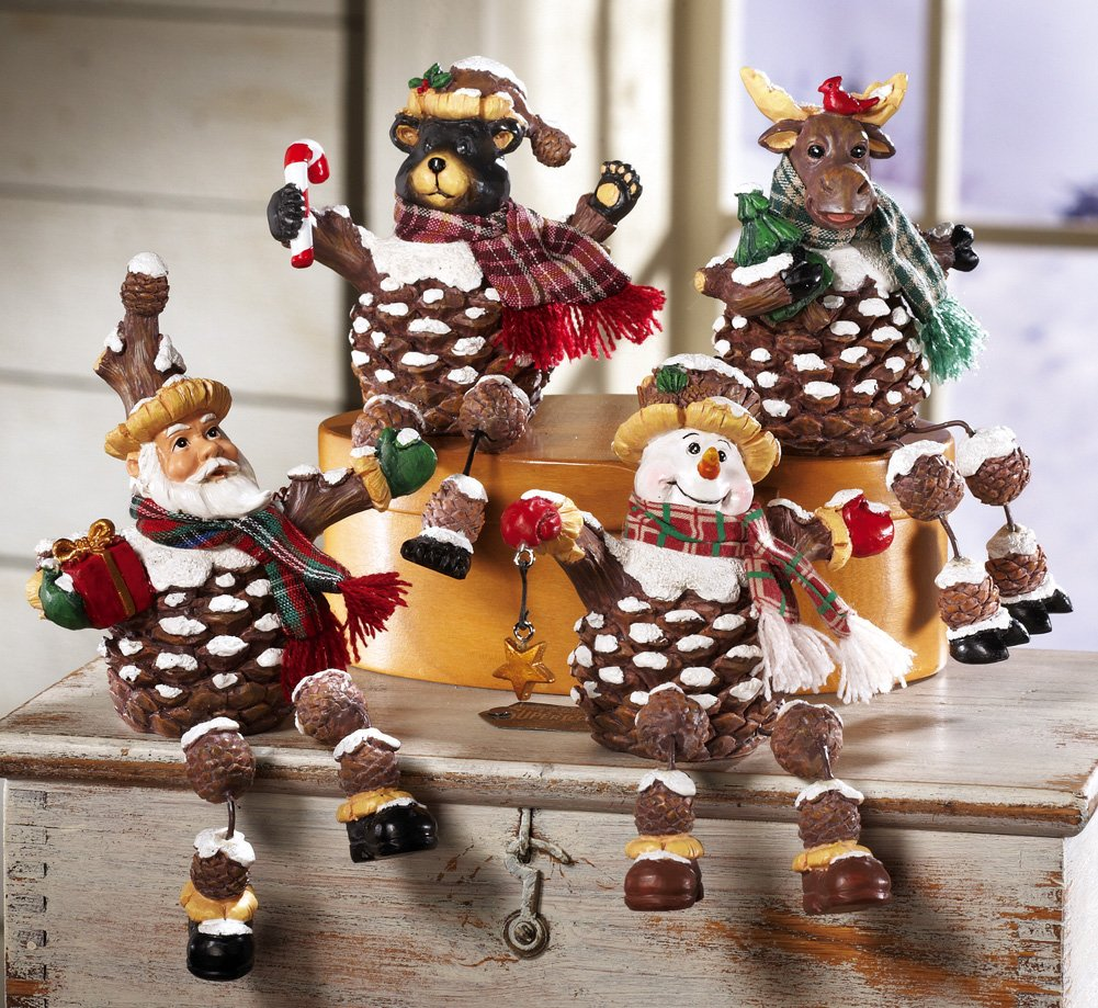 Woodland Pinecone Holiday Collectible Sitters