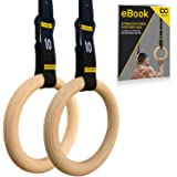 Double Circle Wood Gymnastic Rings + Competition Straps & Ebook - Gymnastics Equipment for Gym, CrossFit, and Bodyweight Training, Premium, Heavy Duty Numbered Straps for Fast Use
