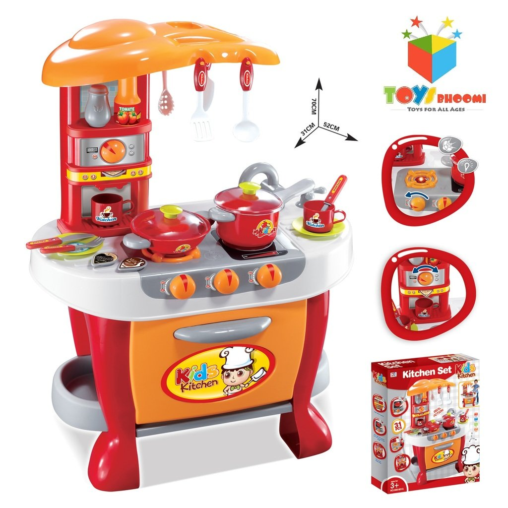 Toys bhoomi interactive little chef kids kitchen play set for Little girl kitchen playset