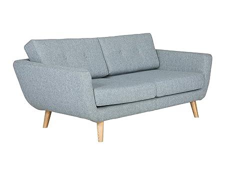 Massivum Kingsley II Sofa, 2 Sitzer, Stoff, grau, 96 x 170 x 78 cm