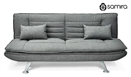 Canapé-Lit en tissu Canapé-Lit en tissu gris - Canapé 3 places - mod. Iris avec des coussins