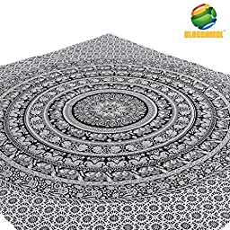 Elephant Mandala Wall hanging Tapestry- Black and White- Queen Size + Free Pillow Cover by CLASSAMOL(TM) Tapestries. Made in India- Tree of Life Psychedelic Art- Bohemian- Hippie Hippy