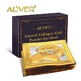 ALIVER 10pack Crystal 24K Gold Collagen Eye Mask - Anti Aging, Wrinkles, Moisturising, Blemishes, Firming, Toning, Dark Circles, Smoothing Skin, Natural Lift (Tamaño: 10 pairs)
