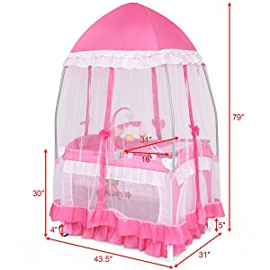 Wheels /& Brake Pink Cute Whirling Toys 32 in Oxford Carry Bag BABY JOY Portable Playard 4 in 1 Convertible Baby Playpen with Changing Table Mesh Net Foldable Bassinet Bed with Music Box