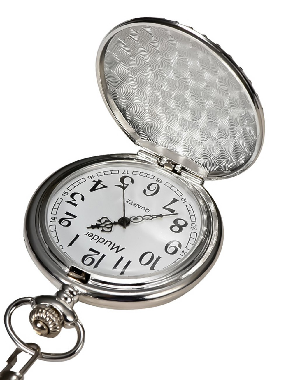 Mudder Vintage Silver Stainless Steel Quartz Pocket Watch Chain 3