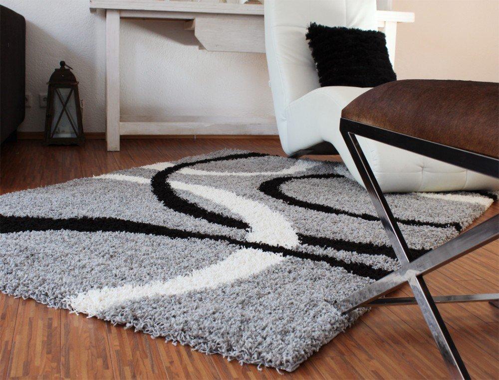 Teppich Hochflor Shaggy Linien Muster Grau Schwarz Weiss, Grösse160x230 cm    Bewertungen