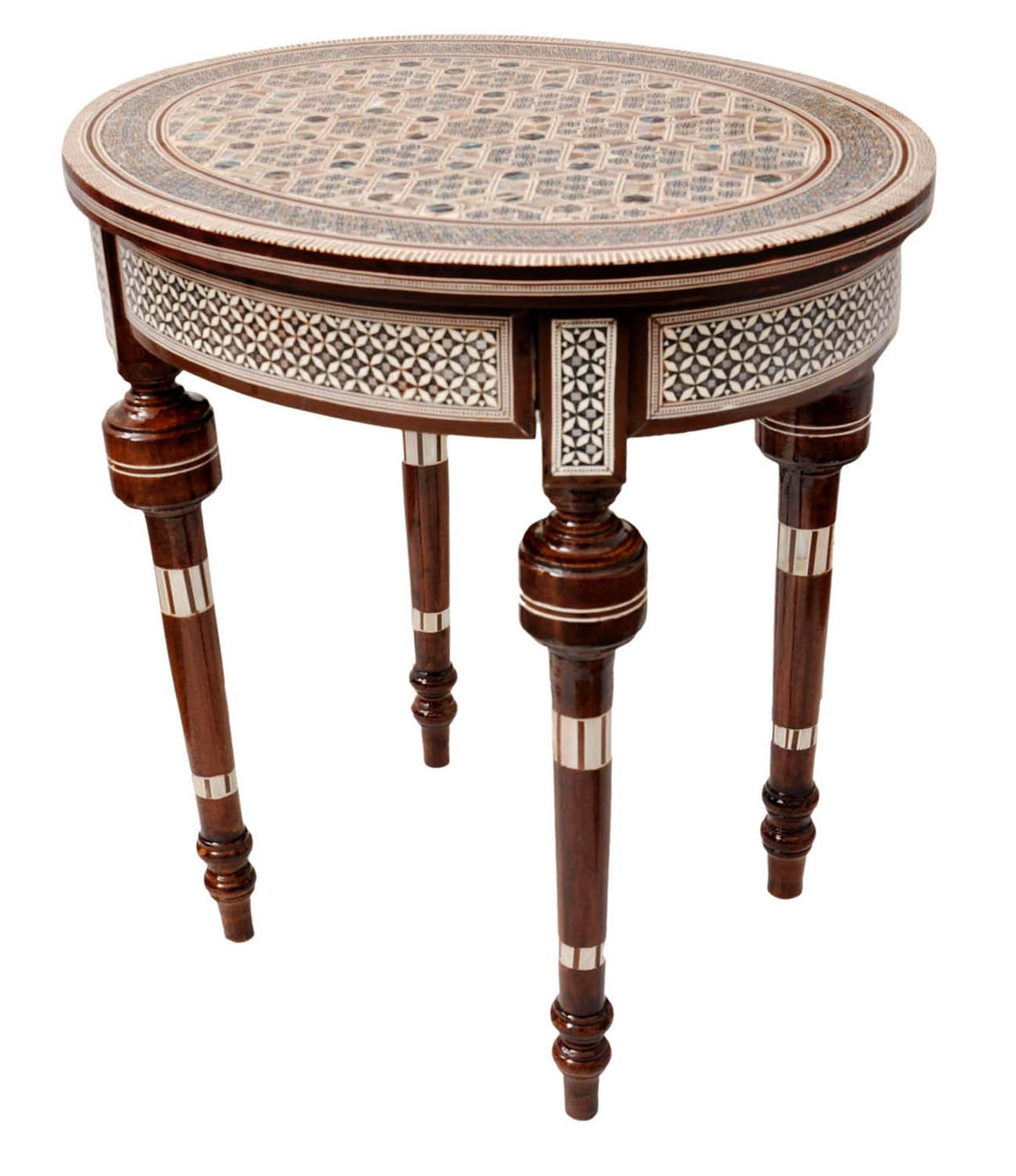 handcrafted egyptian moroccan mother of pearl inlay wood coffee side table ebay. Black Bedroom Furniture Sets. Home Design Ideas