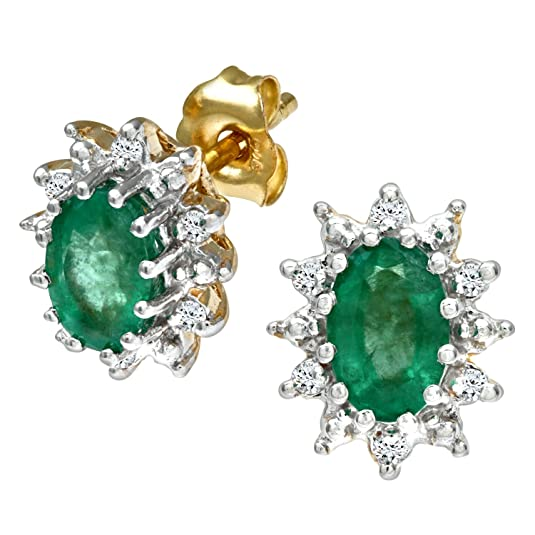 Naava Women's Diamond and Emerald 9 ct Yellow Gold Earrings