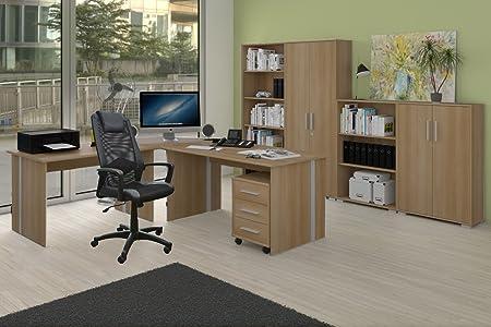 Arbeitszimmer fur Buro oder Privat mit Drehstuhl 9-teilig Buche Dekor