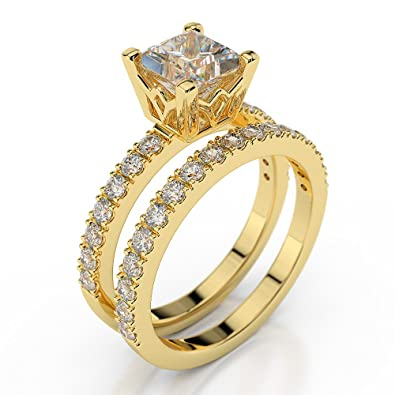 D/VVS1 Man Made Diamond Engagement Ring Set 2 Carat Princess Cut 14ct Yellow Gold