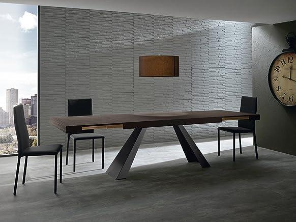 Zamagna - tavolo allungabile Draft T1202 - Piano e allunghe: Melaminico bianco rustico - Gambe: Metallo laccato bianco