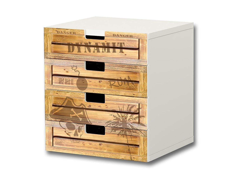 """""""Pirate Style"""" Möbelsticker / Aufkleber – S4K05 – passend für die Kinderzimmer Kommode mit 4 Fächern / Schubladen STUVA von IKEA – Bestehend aus 4 passgenauen Möbelfolien (Möbel nicht inklusive) online kaufen"""