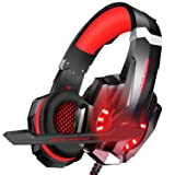 BlueFire Stereo Gaming Headset for PS4, PC, Xbox One Controller, Noise Cancelling Over Ear Headphones with Mic, LED Light, Bass Surround, Soft Memory Earmuffs for Laptop Nintendo Switch(Red) (Color: Red)