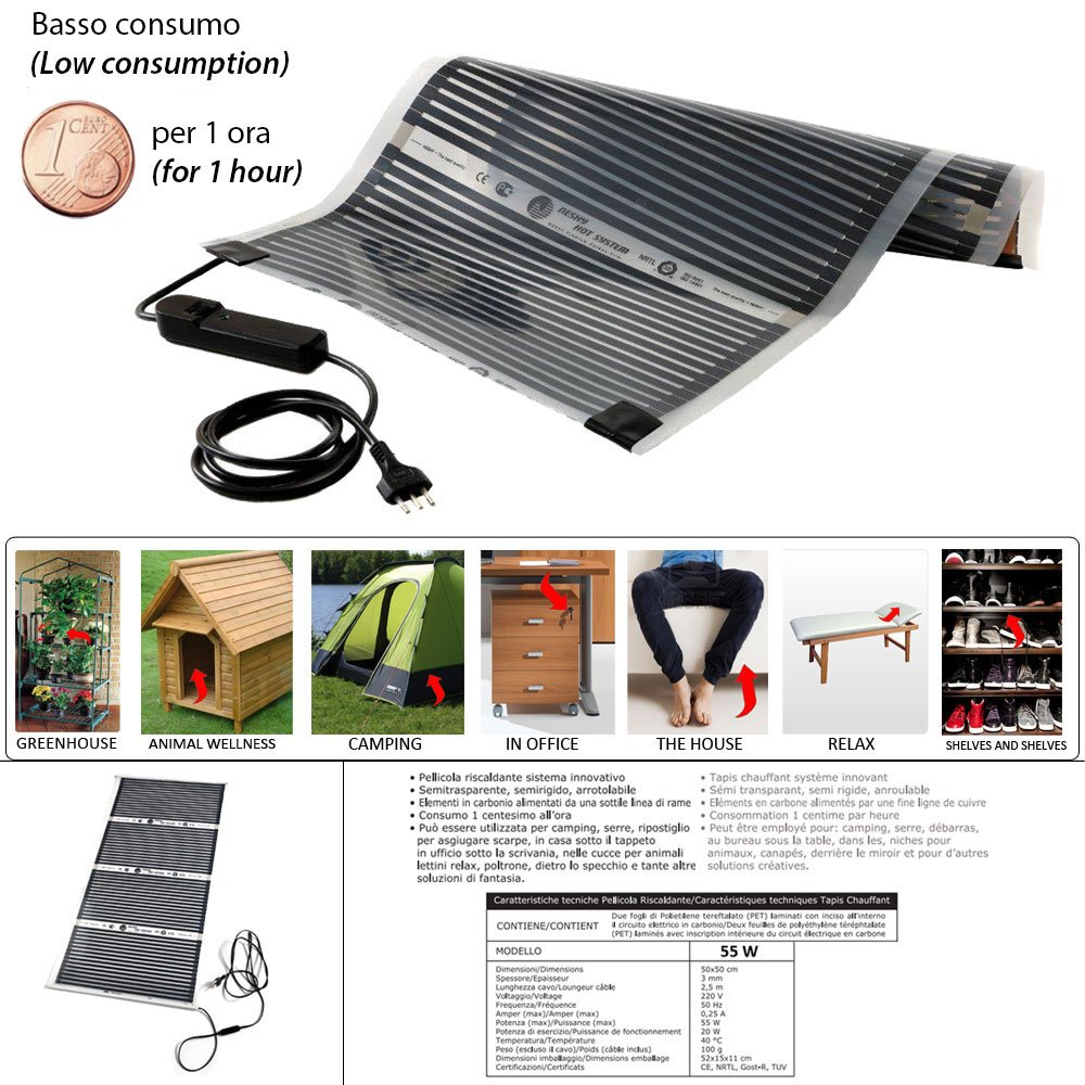Storepoint Elektrische NEW Boden-Heizfolie Dual-Use (0,5 x 0,5 mt) Garantie Verbrauch € 0,01 pro Stunde – Boden-Heizfolie online kaufen