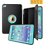 iPad Mini 4 Case, SEYMAC Three Layer Drop Protection Rugged Protective Heavy Duty iPad Case with Magnetic Smart Auto Wake / Sleep Cover for iPad Mini 4th Generation (Black/Light Blue)