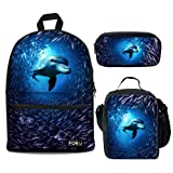 Bigcardesigns Unisex Adult Dolphin Backpack with Insulated Lunch bag Pen Bag 3 Sets for Teens (Color: Dolphin - 3 pcs/set, Tamaño: Medium)