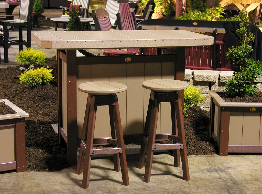 Outdoor Polywood Serving Bar & 2 Bar Stools - *BLUE* Color bar chair antique color ktv stool free shipping brown blue dark green color public house stool
