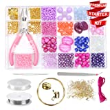 Modda Jewelry Making Kit- DIY Beading Arts and Crafts Kits for Teen Girls, Beginners, Adults - Includes Supplies, Beads, Charms, Instructions for Bracelets, Necklaces, Earrings Making - Pink Kit (Color: Pink)