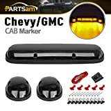 Partsam 3Pcs 30LED Cab Marker Roof Running Lights For Chevy CMC Clearance Lights Assembly + Wiring Pack for 2002-2007 Chevrolet Silverado GMC Sierra 1500 1500HD 2500 2500HD 3500 Trucks (Color: Smoke Lens Yellow Light)