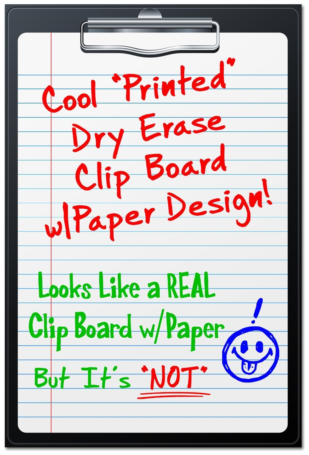 "Bigtime Magnetic Dry Erase Whiteboard - Clip Board Loose Leaf Paper Memo Design for Fridge - 30 Mil Thick - 12"" High (Clip Board - Lined Sheet Design)"