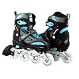 Kids/Teen Adjustable Inline Skates For Girls and Boys Durable Outdoor Roller Blades Illuminating Front Wheel (Color: Mint, Tamaño: 4-6 Adult)