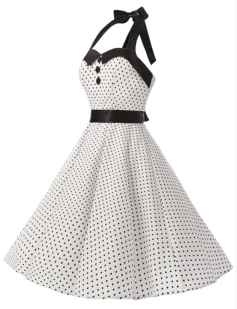 Dressystar Vintage Polka Dot Retro Cocktail Prom Dresses 50's 60's Rockabilly Bandage 1