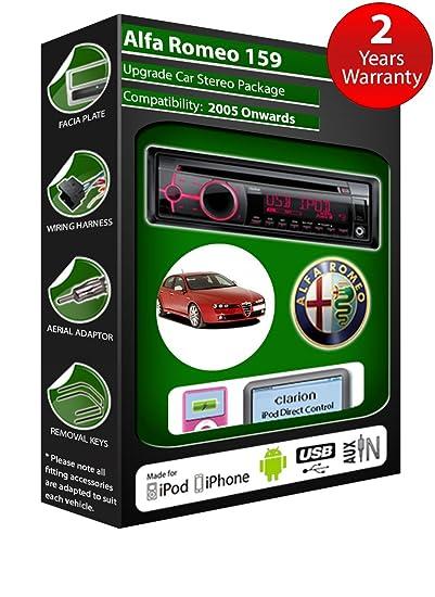 Alfa Romeo 147 de lecteur CD et stéréo de voiture radio Clarion jeu USB pour iPod, iPhone, Android