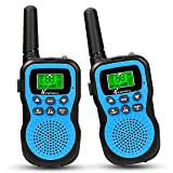 Vansky Walkie Talkies for Kids, 22 Channel 2 Way Radio Long Range Built-in Flashlight Boys Toy Best Gifts for Games, Outdoor Adventure, Camping, Hiking & More (Blue, 2 Pack) (Color: Blue)