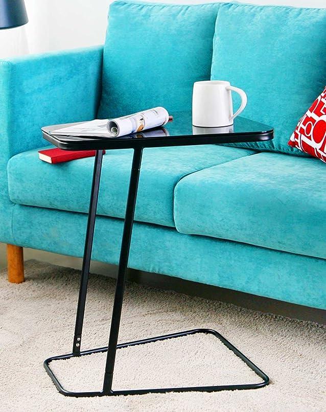 Ikazs creativo ferro vetro trapezio spostamento laterale tavolino (nero) Black