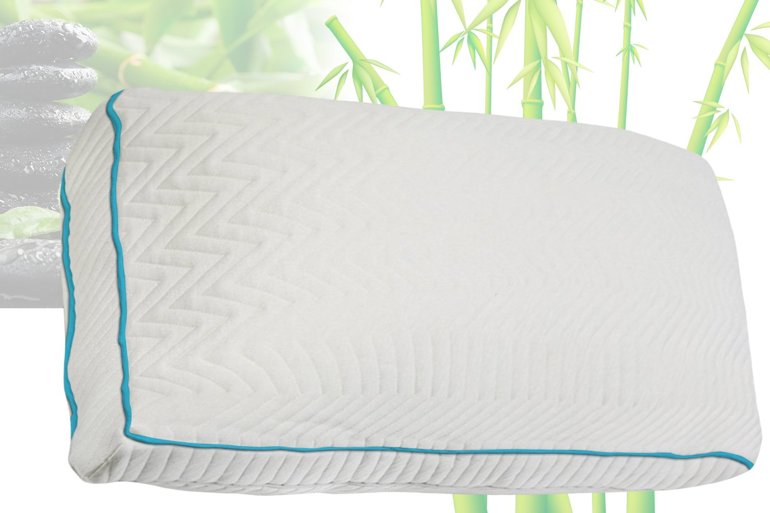 Home Comfort Premium Bamboo Pillow With Shredded Memory Foam and Cool Removable Cover, Queen
