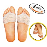 [Improved] Breathable Metatarsal Foot Pads-Ball of Foot Cushions, Forefoot Blister Prevention, Callus Prevention, Foot Support and Foot Pain Relief, 4 Pieces Pedi Soother Solutions Ventilated Gel Pads (Color: Translucent, Tamaño: One Size Fits Most)