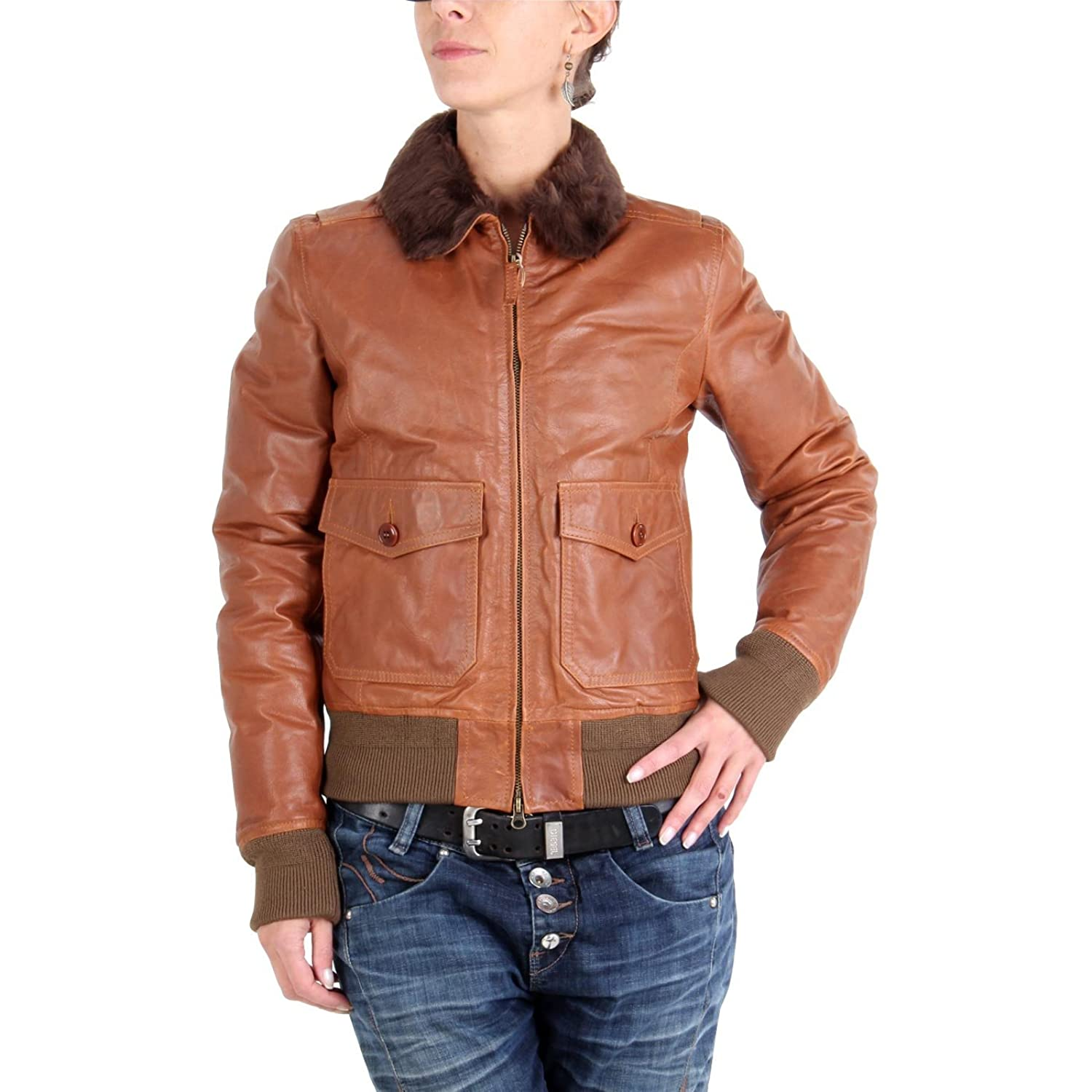 MUSEUM Damen Winter Lederjacke Braun MD28119