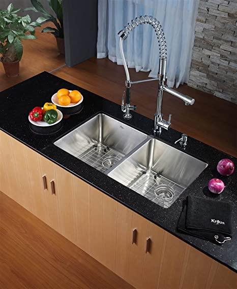Kraus KHU102-33-KPF1602-KSD30CH 33 inch Undermount Double Bowl Stainless Steel Kitchen Sink with Chrome Kitchen Faucet and Soap Dispenser