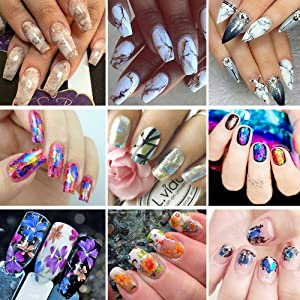 Tempea Metallic retro rainbow chameleon glitter chrome NAIL FOIL TRANSFER psychedelic mirror effect silver nail decals paisley floral rose petal holographic unicorn nail art (5p)