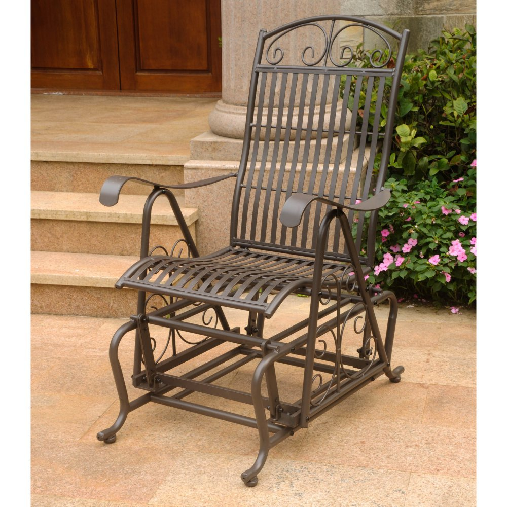 Iron Chairs Outdoor Glider Backyard Garden Patio Vintage Furniture Metal Deck