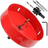 6-3/8 Inch Hole Saw with Heavy Duty Arbor - 38mm Cutting Depth HSS Bi-Metal Hole Cutter for Can Light Recessed Light, Smoothly Cutting in Wood, Plastic, Drywall and Metal Sheet (Color: Red, Tamaño: 6-3/8