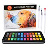Watercolor Paint Set- 36 Joyful Colors in a Lightweight Metal Case - 1 Detail Paint Brush-3 Water Brush Pens-8 pcs 300G Watercolor Paper in a Great Gift Box for Kids and Art Lovers