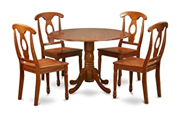 East West Furniture DLNA5-SBR-W 5-Piece Kitchen Nook Dining Table Set, Saddle brown Finish