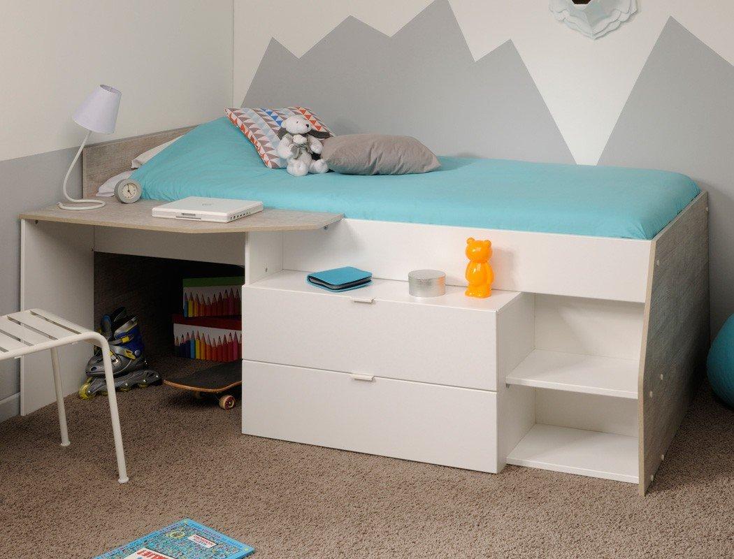 Hochbett Mika für Mädchen und Jungen 90x200cm, weiß grau, Kinderbett Kommode Schreibtisch bestellen