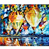 Moohue Modern Embroidery Pattern Oil Painting Beautiful Hot Air Balloons 14CT Counted Cross Stitch Kits DMC Cotton Thread Craft Supplies (Beautiful hot air Balloons) (Color: Beautiful hot air balloons)