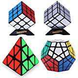 Dreampark 4-Pack Populer Magic Cube Puzzle Bundle - Includes 3x3 Speed Cube, Pyramid Speedcubing Puzzle, Megaminx Cube and Mirror Cube Set of 4 (Color: Black)