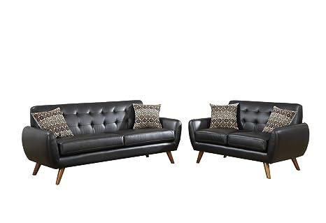 Poundex F6911 Bobkona Sonya Bonded Leather 2 Piece Sofa and Loveseat Set, Espresso